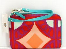 Fossil Key Per Wristlet Zip Clutch Wallet Handbag Raspberry & Multicolor New!