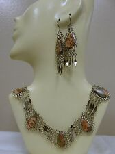 Necklace and Earrings Set Handmade New Peruvian Leopardskin Jasper Alpaca Silver