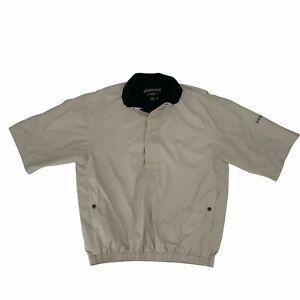 FootJoy DryJoys Cover Up Men's Size M Beige 1/4 Zip Water Resistant Golf Jacket