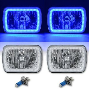 "7X6"" Blue SMD LED Halo Angel Eye Clear Headlight 55/60W Halogen Light Bulb Pair"