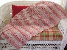 CROCHET shawl wrap prayer afghan handmade homespun yarn PARFAIT pink variegated