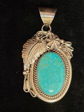 Native American Navajo Handmade Turquoise Sterling Silver Pendant -Mike Thomas