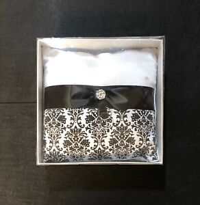 "Fashion Floral Flocking 8"" Wedding Ring Bearer Pillow Cushion Black & White *NEW"