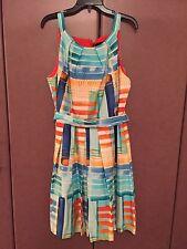 NWOT CHETTA B  WOMEN'S   MULTI COLOR GEOMETRIC COTTON PRINTED  DRESS  SIZE 14