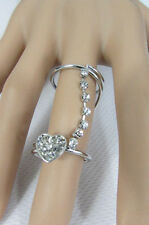 Adorable Fashion Metal Cute Heart Rhinestones New Women Ring Size 8 Long Silver
