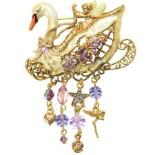 Kirks Folly Swan Princess Fairy Pin Goldtone & White Hand Enameled with Charms