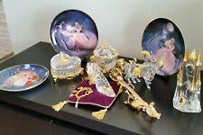 Franklin Mint Cinderella Lot Clock Wand Horse Carriage Glass Slipper Plates Gold
