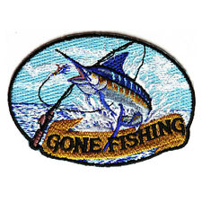Embroidered Marlin Gone Fishing Sew or Iron on Patch Biker Patch
