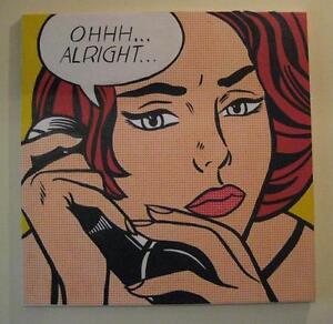 """Pop Art Roy Lichtenstein 80cm X 80cm (31.5"""") Large Oil Canvas MOUNTED"""