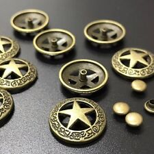 "5 ROUND BRONZE STAR Metal Rivet Studs 3/4"" (19mm) Leather Crafts (1199) Concho"