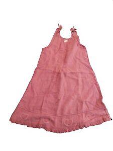New Oilily Vintage Kids Girls Linen Pink Dress Jumper 104 4T 164