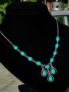 12 Turquoise Gemstones on 925 Silver Curb Chain Necklace, Swag Style Pendant.