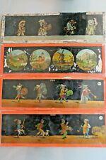LOT 4 PLAQUES verre  pour LANTERNE MAGIQUE caricatures clowns  divers 1900