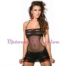Black Teddy Babydoll Lingerie Chemise with Stocking Garters & G String Panties