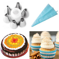 8Pcs Icing Piping Cake Cupcake Decorating Bag&Nozzle Set Sugarcraft Baking Tool