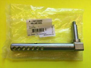 Adjustable right front gauge wheel arm John Deere 54C 62C mower decks AM120680