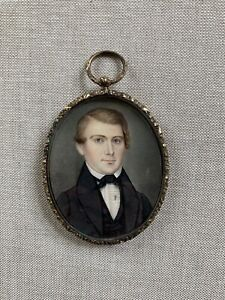 American Miniature Portrait Young Man Hair Work Monogrammed Case Art Painting