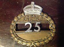 ORIGINAL BRITISH GPO POST OFFICE CAP BADGE no.25 Royal Mail
