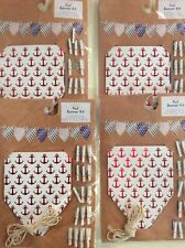 """New LOT Of 4 Anchor Foil Banner Kit 60"""" Party Supplies 8 Pennants 16 Wood Clips"""