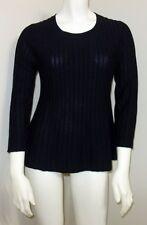 NWT Banana Republic Small 4 6 100% Merino Wool Pintuck Sweater Black 3/4 Sleeve