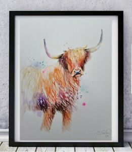 New large original signed Elle Smith watercolour art painting Highland Cow