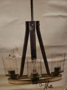 *NEW* Kichler Barrington 3-Light Anvil Iron Antique Rustic Chandelier #0616009
