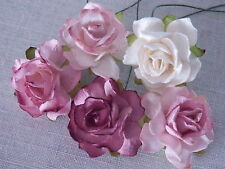 50 Paper ROSES 33mm MPR33X Mixed Vintage Colours WEDDING CRAFTS & DECORATIONS