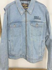 Harley-Davidson MEN MEDIUM Vintage 1990s Faded Denim Jacket Zippered Embroidered
