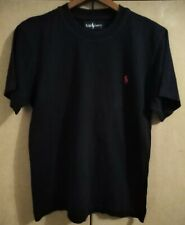 RALPH LAUREN POLO - CLASSIC BLACK COMBED COTTON T SHIRT - SIZE SMALL
