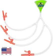 Quad Beer Bong - Green Funnel  - 4 PERSON BEER BONG - MADE IN USA