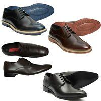 Lucini Mens Leather Lace Up Shoes Smart Office Casual Bordo Blue Colour Uk 6-12