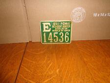 1941 PA PENNA Pennsylvania Hunting License Metal E 14536 Green Vintage Resident