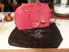 5625b0371f60 Joy Mangano   Iman Red Section Split Leather Satchel Purse with Watch