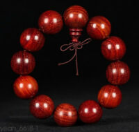 20mm Red Big Tibet Chinese Buddhist Wood Monk Mala Bracelet Prayer Kungfu Bead