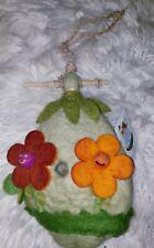 Wild Woolies Felt Bird House Green Cottage Birdhouse Wool Felt Natural Flowers