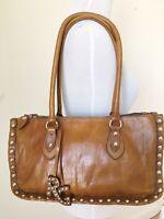 Roberta Gandolfi Brown Leather Purse Handbag Bag Studded Boho Moto Made in Italy