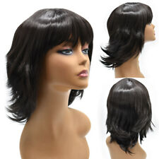 Layered Women Wigs with Bangs Premium Synthetic Shoulder Length Black Brown Hair