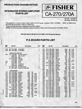 VINTAGE FISHER SERVICE INTEGRATED STEREO AMPLIFIER PARTS LIST CA-270/ 270A