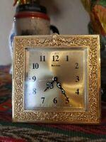 BULOVA Brass Carriage Mantel Alarm Clock