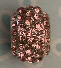 Brighton ICE DIVA Light Pink Sparkle Rows of Crystals Holiday ABC Bead