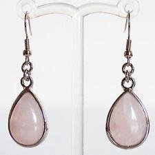 Semi-Precious Silver Teardrop Stone Earrings - Rose Quartz
