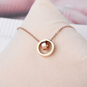 Love Rose Gold Titanium Stainless Steel Double Ring Pendant Chain Necklace