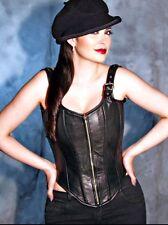 "28"" Steel boned lambskin leather corset Vest  Biker H-D Motorcycle Lingerie Sexy"