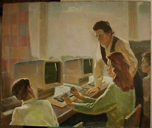 Russian Ukrainian Soviet oil painting portrait programmer first USSR computer