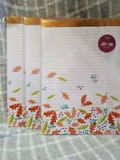 Lot of 3 AUTUMN LEAVES Fashion Writing Pads Ruled Paper 8.5 X 11, 40 Sheets