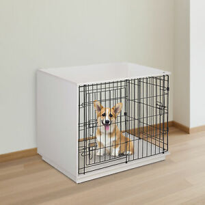 Pawhut Metal Frame Dog Cage Half Crate w/ 2 Doors Flat Top Elevated Base White