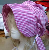 victorian edwardian adult baby fancy dress print bonnet cap hat  sissy maid pink