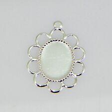 10x8 Oval Silver Plated Filigree Design Cabochon (Cab) Drop Setting (2pc)