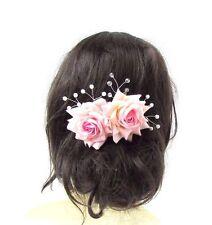 Blush Light Pink Rose Flower Vine Hair Comb Bridal Pearl Silver Bridesmaid 2812
