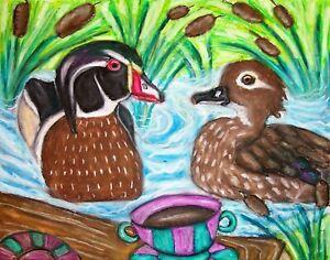WOOD DUCK Drinking Coffee KSams wildlife art pop SIGNED 5 x 7 PRINT mandarin